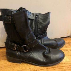 G by Guess Black Leather Combat Moto Boots